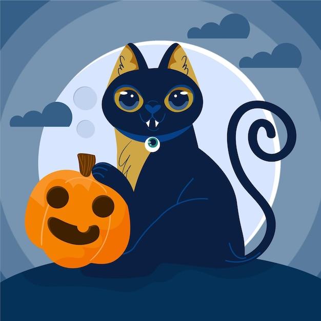 ハロウィン猫描き下ろしコンセプト 無料ベクター