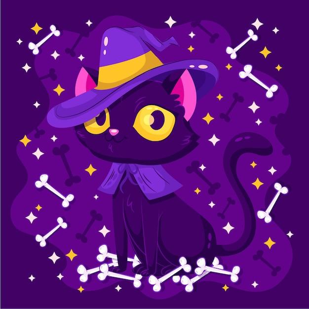 Halloween cat in flat design Free Vector