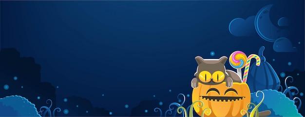 Кошка хэллоуина. счастливый баннер хэллоуина. хэллоуин фоны с ночью на кладбище Premium векторы