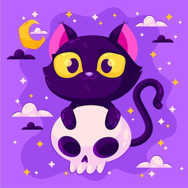 フラットなデザインのハロウィン猫 無料ベクター