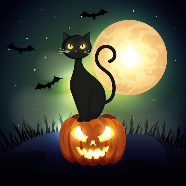 暗い夜にカボチャの上のハロウィン猫 無料ベクター