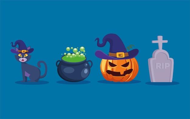 그릇 호박과 무덤 만화 디자인, 휴일 및 무서운 테마 할로윈 고양이 프리미엄 벡터