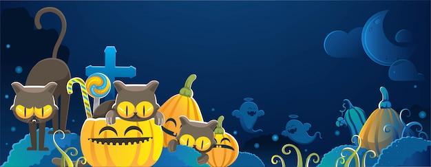 Кошки хэллоуина. счастливый баннер хэллоуина. хэллоуин фоны с ночью на кладбище Premium векторы
