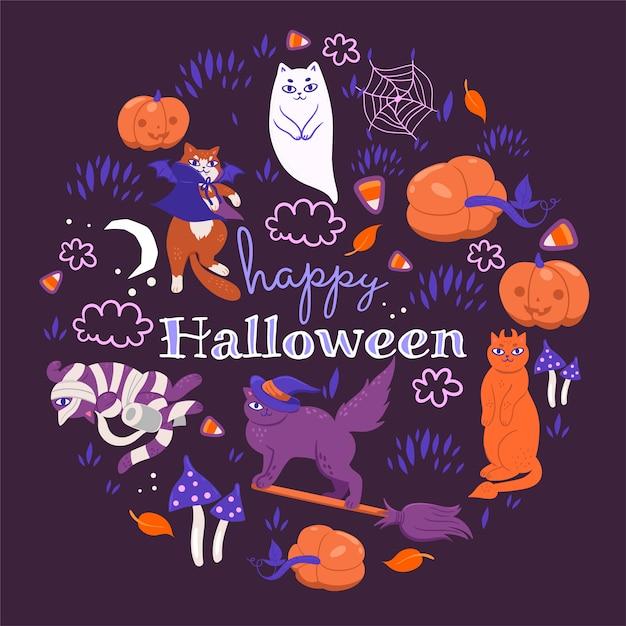 紫色の背景にハロウィン猫。 Premiumベクター