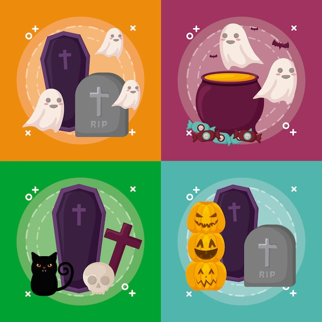 Halloween celebration set Free Vector