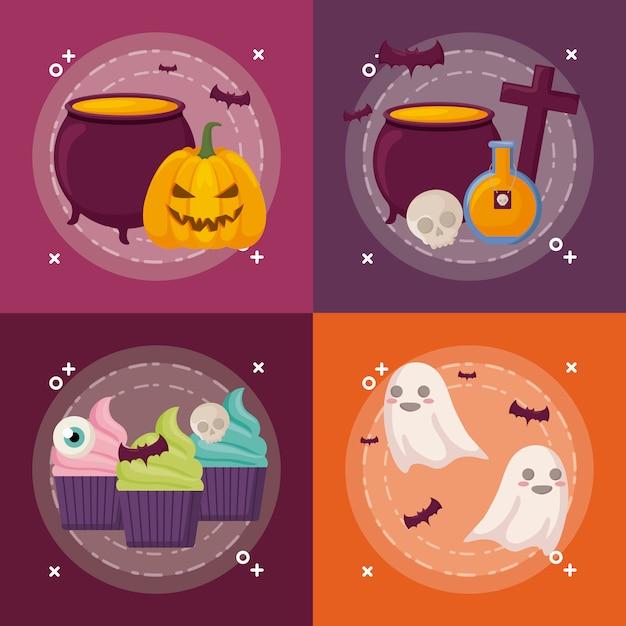 Halloween celebration set Free Vector
