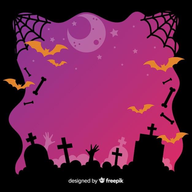Halloween cemetery frame on flat design Free Vector