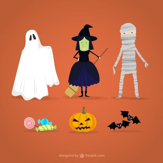 Halloween character cartoons Free Vector