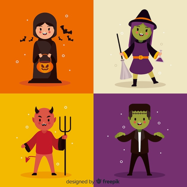 Halloween character collection with flat design Free Vector