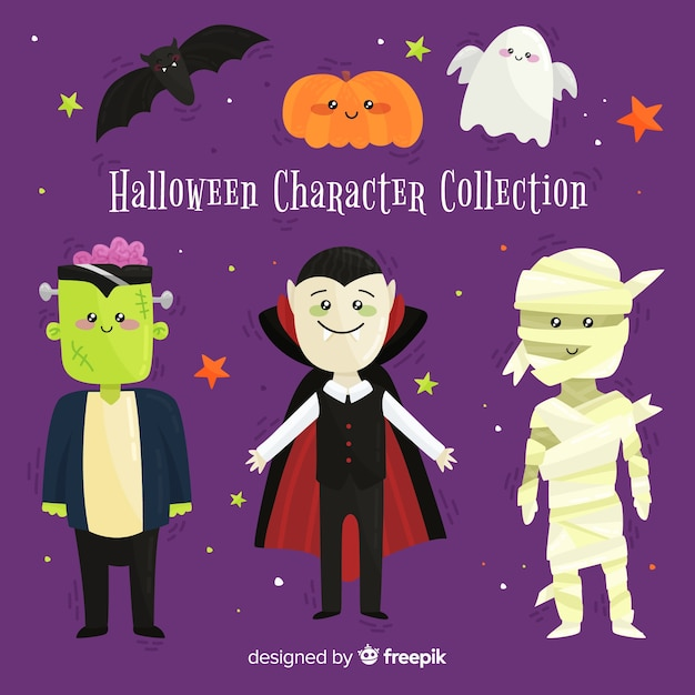 Halloween character collection Free Vector