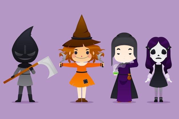 Collezione di personaggi di halloween Vettore gratuito