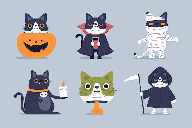 Коллекция персонажей хэллоуина Бесплатные векторы
