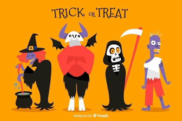 Halloween character costume on orange background Free Vector