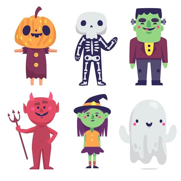 Розыгрыш персонажа на хэллоуин Бесплатные векторы