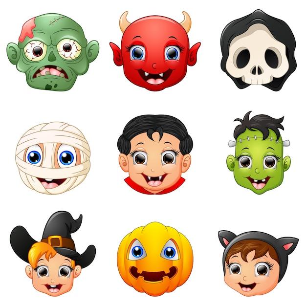 Halloween character face set Premium Vector