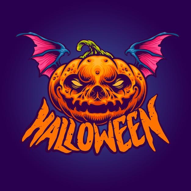 Halloween character the pumpkin head Premium Vector