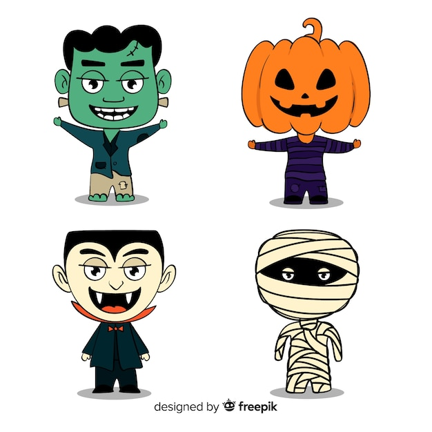 Halloween character sticker collection Free Vector