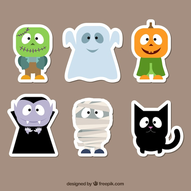 Halloween character stickers Free Vector
