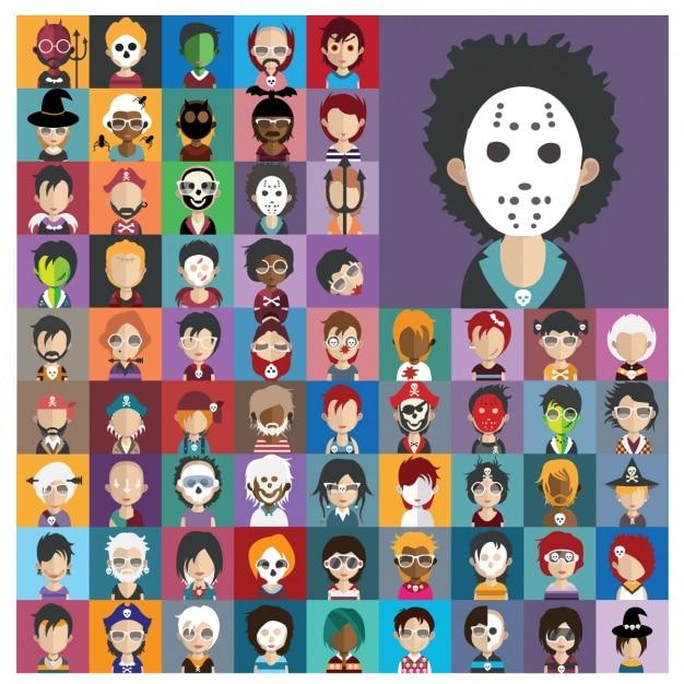 Halloween characters collection Premium Vector