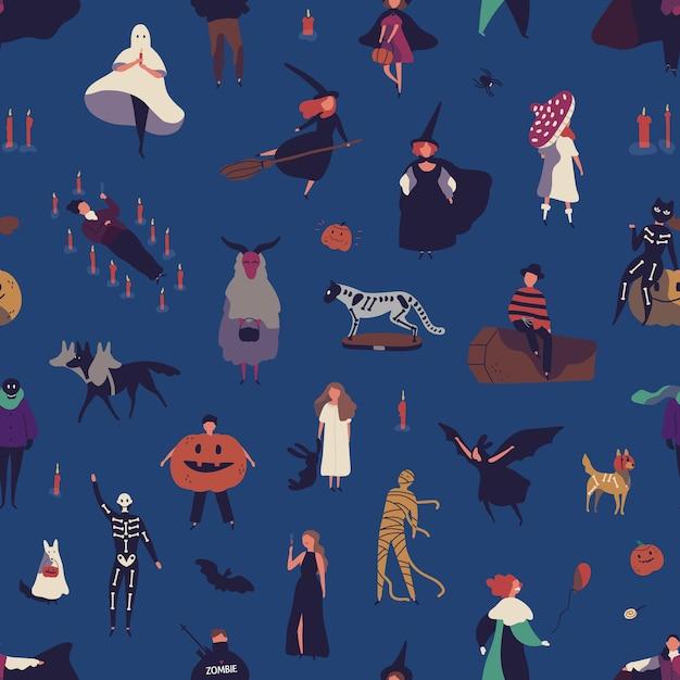 ハロウィーンキャラクターフラットベクトルシームレスパターン。不気味な衣装の人々漫画イラスト Premiumベクター