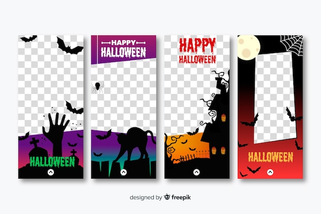 Коллекция рассказов instagram персонажей хэллоуина Premium векторы