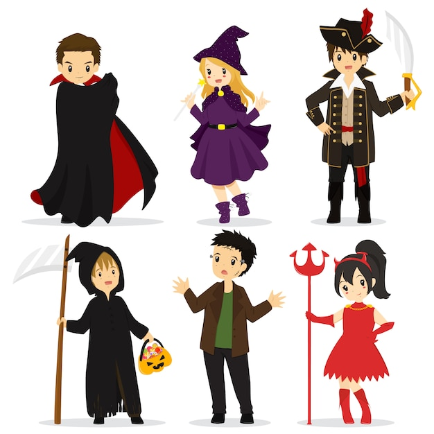Halloween characters and items collection Premium Vector