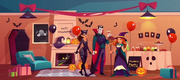 Halloween characters in party decorated interior Free Vector