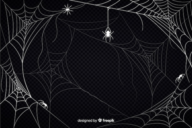 Halloween cobweb background with spiders Free Vector