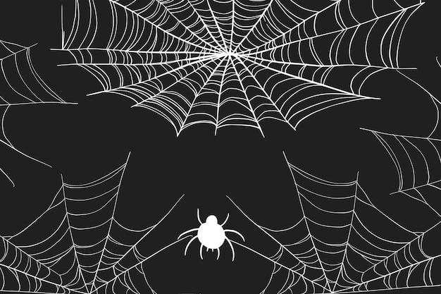 할로윈 거미줄 배경 프리미엄 벡터