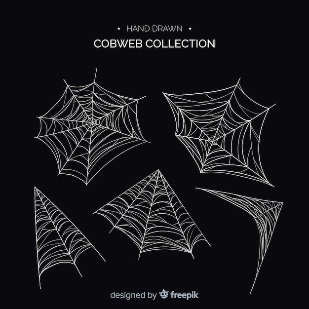 Halloween cobweb collectio Free Vector
