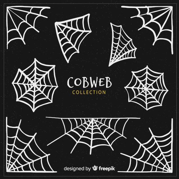 Halloween cobweb collection Free Vector