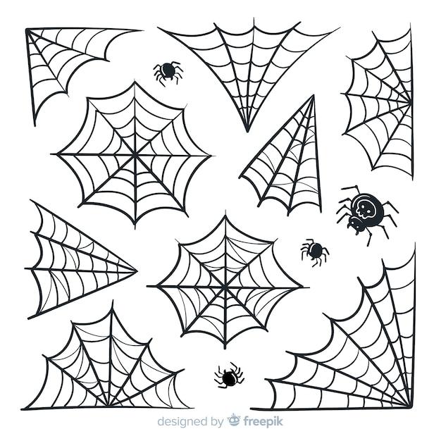 Halloween cobweb pack Free Vector