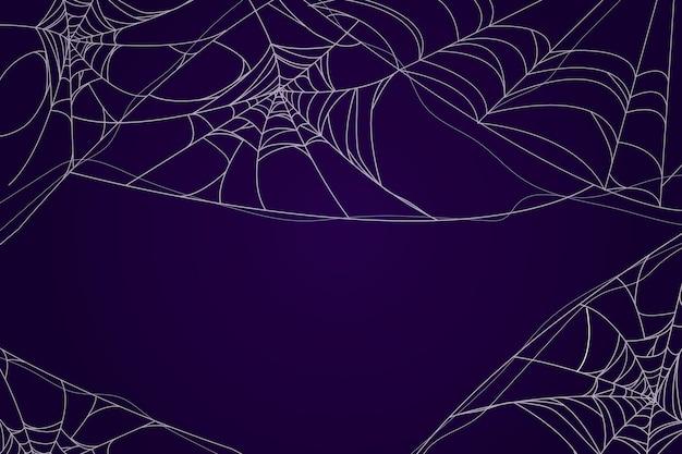 Tema della carta da parati della ragnatela di halloween Vettore gratuito