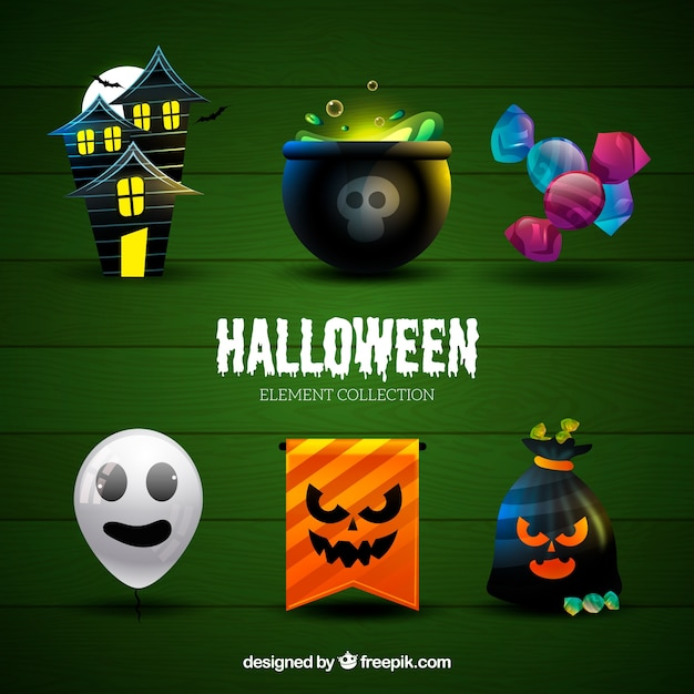 Halloween collection of main thematic elements of the holiday