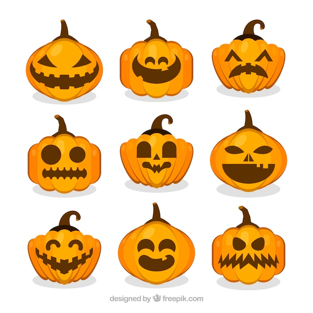 Halloween collection of nine differently shaped pumpkins