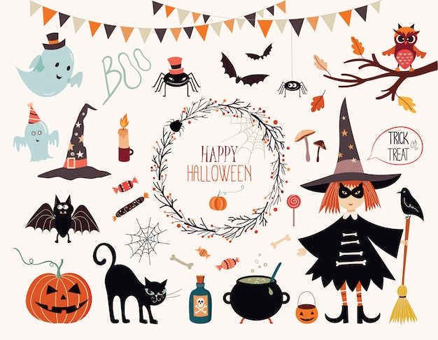 Halloween collection with hand drawn elements, witch, ghosts and wreath Premium Vector