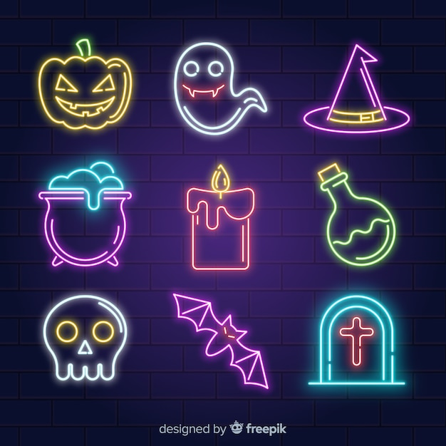 Halloween collection with neon signs Free Vector