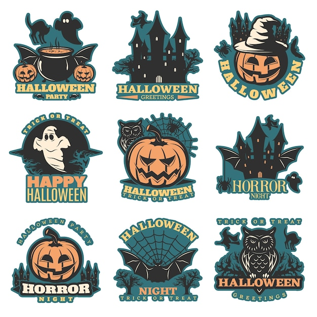 Halloween colored emblems set Free Vector
