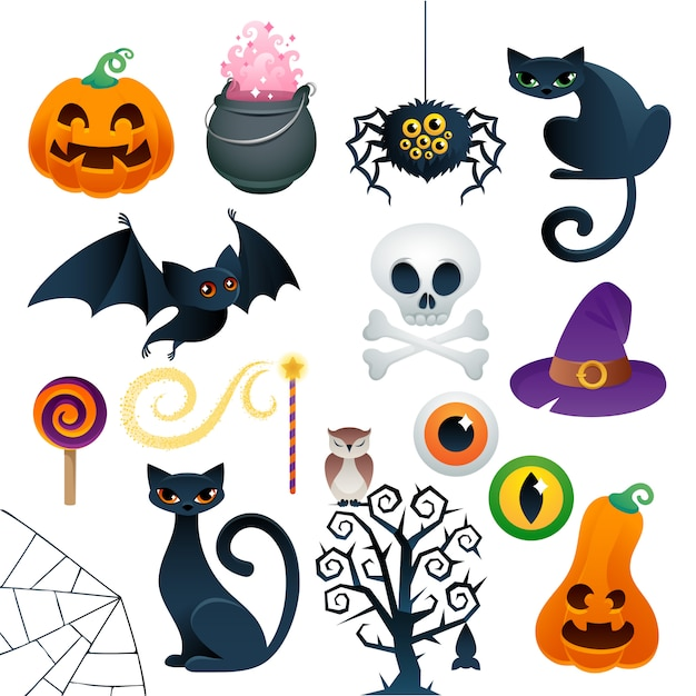 Halloween colorful icons set vector illustration. Premium Vector