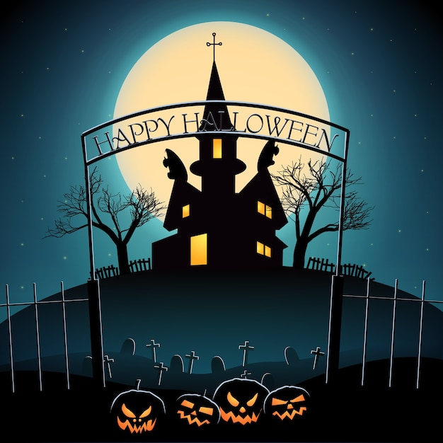 Halloween composition with lanterns from pumpkin cemetery haunted house and glowing moon Free Vector
