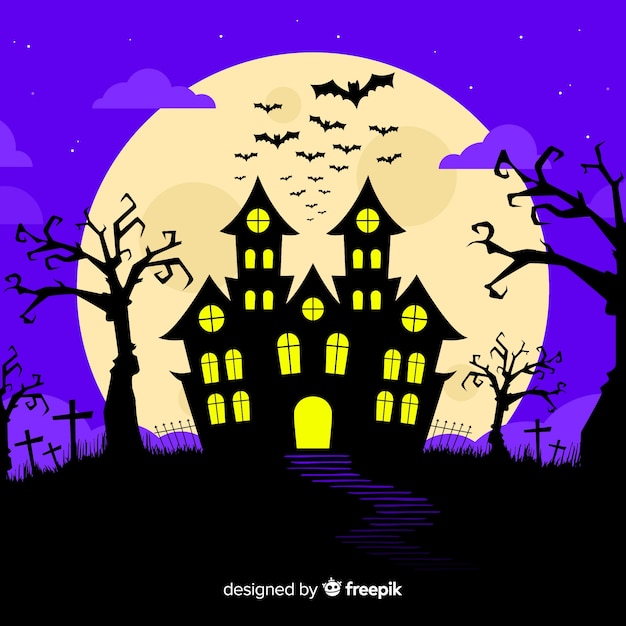 Halloween concept with flat design background Free Vector
