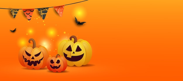 ジャックカボチャ、黒いコウモリ、オレンジ色のグラデーションの背景にコピースペースと花輪の色の描画とハロウィーンのコンセプト Premiumベクター