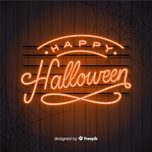 Halloween concept with lettering background Free Vector