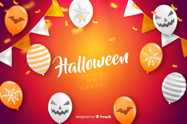 Halloween concept with realistic background Free Vector