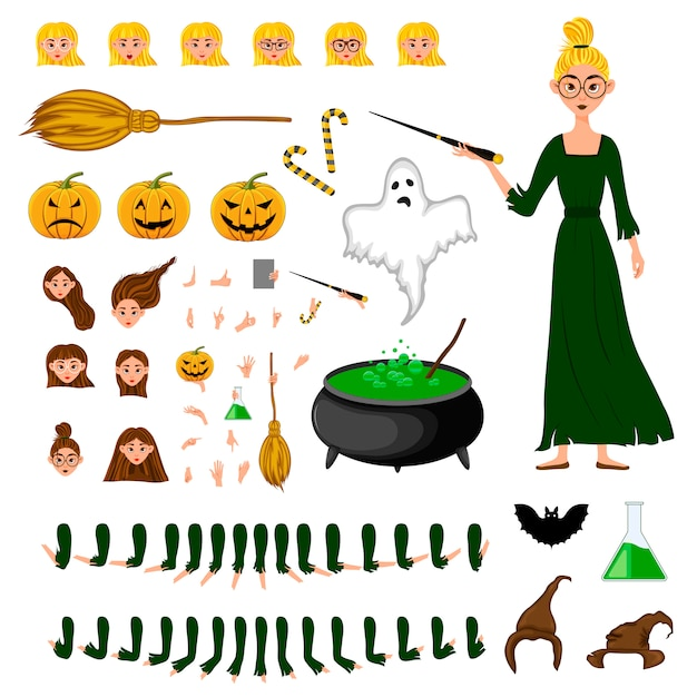 Halloween constructor set of female characters. girl with holiday attributes. Premium Vector