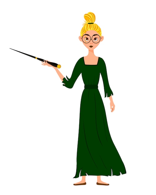 Halloween costume of female character. girl with magic wand in her hands. vector illustration. Premium Vector