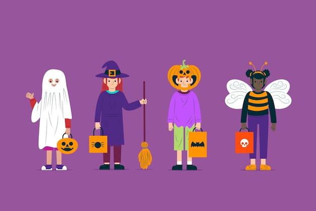 Collezione di personaggi per bambini in costume di halloween Vettore gratuito