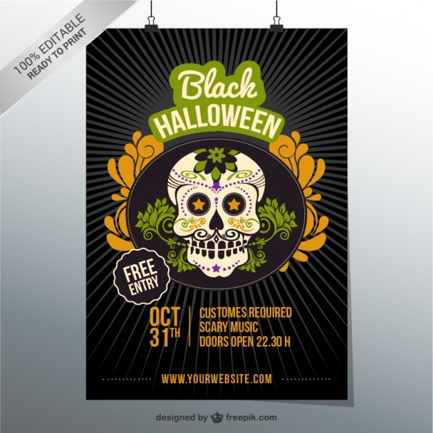 halloween costume party editable flyer vector free download