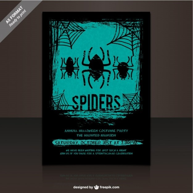Halloween costume party flyer template Free Vector