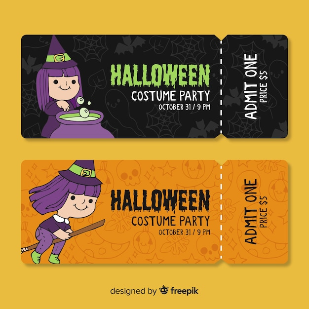 Halloween costume party tickets Free Vector